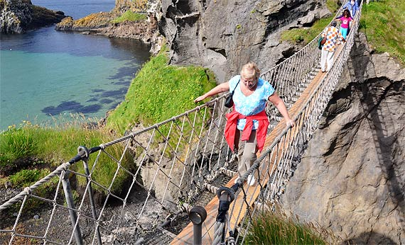 Cathy crosses at Carrick-a-Rede